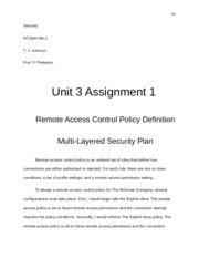 Unit 3 Assignment 1 Remote Access Control Policy Definition 1.docx
