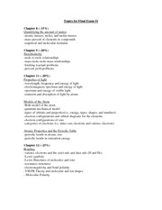 List of topics for final 1 fall 2011