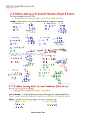 Problem Solving with Decimal Numbers Key Notes