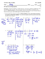 Quiz 7 Solution on Solving Linear Equations