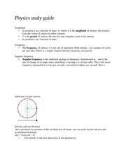 Physics study guide for waves