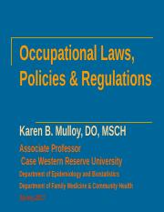 Occupational Laws, Policies & Regulations 2017