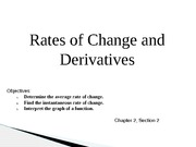 Presentation: Rates of Change and Derivatives