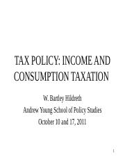 Income and Consumption Taxation, Fall 2011 (PP Slides)