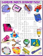 classroom objects vocabulary esl crossword puzzle worksheet