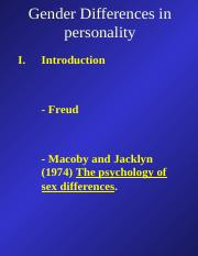 Chapter 16 Gender Differences