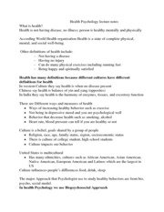 What is health lecture 1 notes