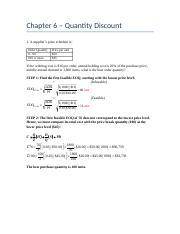 Chapter 6 - Practice Problems Quantity Discount