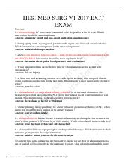 pdf-2 pdf - HESI MED SURG V1 2017 EXIT EXAM Version 1 1 a