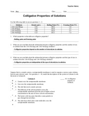Worksheet - Colligative Properties - the terms in Column B Column ...