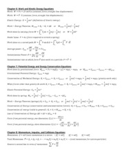 PHY2048 Physics 1, Chapters 6 to 10 Equations Study Guide