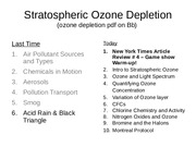 Lecture 14 - Strat Ozone Depletion