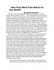 free blacks in the north mini q quizlet