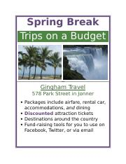 Lab 1 2 Spring Break Flyer Docx Trips On A Budget Gingham Travel 578 Park Street In Jonner Packages Include Airfare Al Car