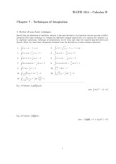 Chapter 7 Notes (Techniques of Integration)+Polar Coordinates