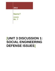 Unit 3 Discussion 1_Social Engineering Defense Issues