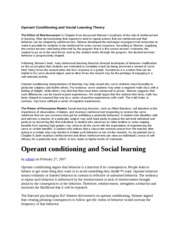 Operant Conditioning and Social Learning Theory