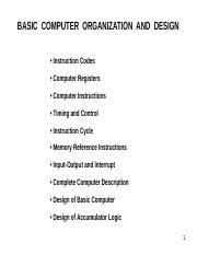 3 Basic Computer Organization And Design Ppt Basic Computer Organization And Design U2022 Instruction Codes U2022 Computer Registers U2022 Computer Course Hero