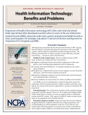 Health Information Technology Benefits and problems