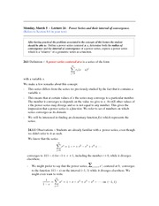 Lecture 24 (Power Series and Interval of Convergence)