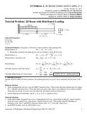 02_Beam_APDL pdf - TUTORIAL 2 2D BEAM USING ANSYS APDL 17 2