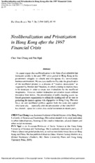 Neoliberalization and Privatization in Hong Kong after the 1997 Financial Crisis