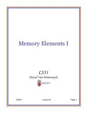 Lecture 6 - Memory