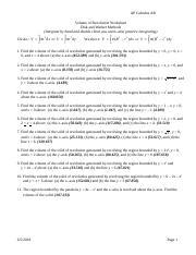 Volume of Revolution Worksheet - AP Calculus AB Volume of ...
