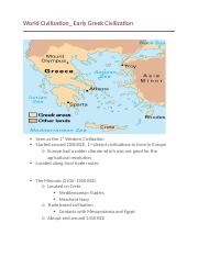World Civilization_Early Greek Civilization .docx