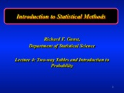 Statistics Two Way tables lecture 4
