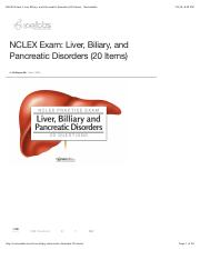 NCLEX Exam: Liver, Biliary, and Pancreatic Disorders (20 Items) - Nurseslabs.pdf