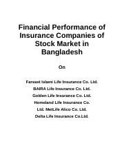Financial Performance of Insurance Companies of Stock Market in Bangladesh