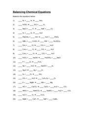 Worksheet 7 - Balancing Chemical Equations - Chapter 7 Worksheet#1 ...