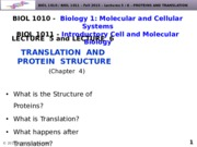 BIOL1010-F2015-Lecture 6-Translation-posted