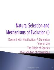 Natural Selection and Mechanisms of Evolution (I)(1)