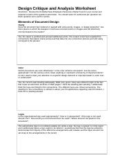 Design Critique and Analysis Worksheet - Design Critique and ...