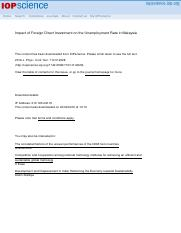 1 The main journal IMPACT OF FOREIGN DIRECT INVESTMENT ON THE