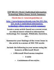 UOP BIS 221 Week 2 Individual Information Technology Ethics Issues Article Summary
