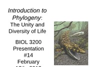 Presentation #14 - Phylogeny (chapter 4)