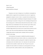 College Writing- Final Paper Reflection