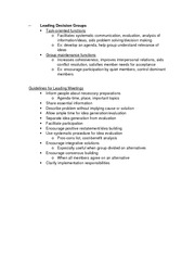 Leading Decision Groups Notes