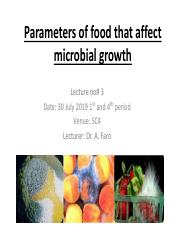 Parameters that influence microbial growth in food Intrisic and Extrinsic factors Lecture 3 30072019
