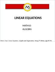Lesson 1 Linear Equations