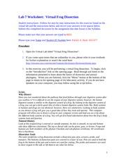lab 7 worksheet virtual frog dissection answers. Black Bedroom Furniture Sets. Home Design Ideas