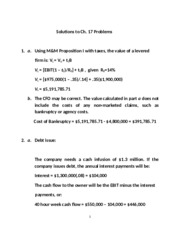 Corporate Finance - Solutions to Ch. 17 Problems