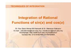 Lecture 7_Integration of Rational Functions of sin(x) and cos(x).pdf