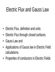 lecture2_Gauss_Law - Electric Flux and Gauss Law Electric