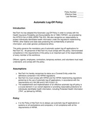 (WMC-50) Automatic Log-Off Policy