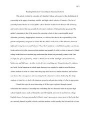 Eng 465 Censorship Reflection Paper