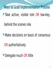 WAYS TO LEAD IMPLEMENTATION PROCESS